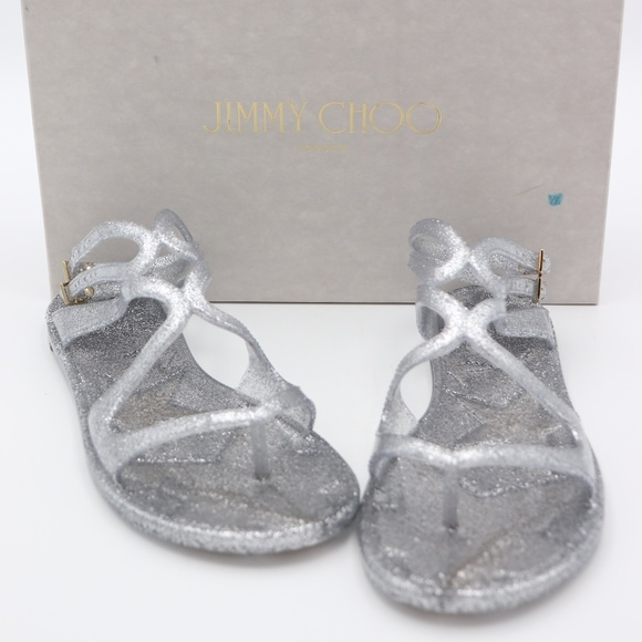 006b3a5b51aa Jimmy Choo Lance Metallic Glitter Jelly Sandals